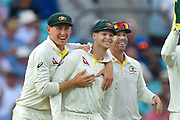 Wicket - Steve Smith of Australia celebrates catching Chris Woakes of England off the bowling of Mitchell Marsh of Australia during the 5th International Test Match 2019 match between England and Australia at the Oval, London, United Kingdom on 14 September 2019.