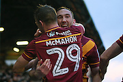 Bradford City defender Anthony McMahon (29) celebrates the winning goal with goal scorer Bradford City defender Rory McArdle (23) as he makes the score 1-2 during the EFL Sky Bet League 1 match between Oldham Athletic and Bradford City at Boundary Park, Oldham, England on 28 January 2017. Photo by Simon Davies.