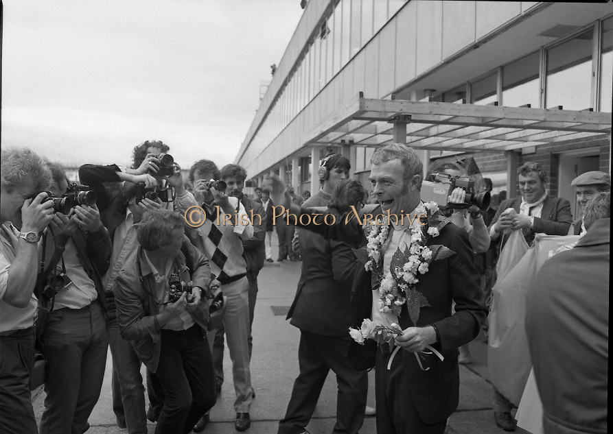 """Fr Niall O'Brien Returns from Captivity.1984..14.07.1984..07.14.1984..On 6 May 1983,Fr Niall O'Brien was arrested along with two other priests, Fr. Brian Gore, an Australian, Fr. Vicente Dangan, a Filipino and six lay workers - the so-called """"Negros Nine"""", for the murders of Mayor Pablo Sola of Kabankalan and four companions. The priests where held under house arrest for eight months but """"escaped"""" to prison in Bacolod City, the provincial capital, where they felt they would be safer.The case received widespread publicity in Ireland and Australia, the home of one of the co-accused priests, Fr. Brian Gore. When Ronald Reagan visited Ireland in 1984, he was asked on Irish TV how he could help the missionary priest's situation. A phone call the next day from the Reagan administration to Ferdinand Marcos resulted in Marcos offering a pardon to Fr. O'Brien and his co-accused..(Ref Wikipedia)...A very Happy Fr Niall O'Brien poses for pictures as he is surrounded by cameramen."""