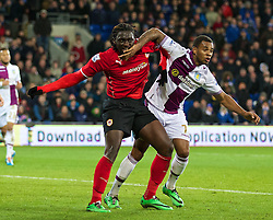 CARDIFF, WALES - Tuesday, February 11, 2014: Cardiff City's Kenwyne Jones in action against Aston Villa's Leandro Bacuna during the Premiership match at the Cardiff City Stadium. (Pic by David Rawcliffe/Propaganda)