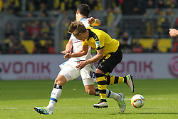 17.04.2016, Signal Iduna Park, Dortmund, GER, 1. FBL, Borussia Dortmund vs Hamburger SV, 30. Runde, im Bild Gojko Kacar (#40, Hamburger SV) mit Felix Passlack (#30, Borussia Dortmund) // during the German Bundesliga 30th round match between Borussia Dortmund and Hamburger SV at the Signal Iduna Park in Dortmund, Germany on 2016/04/17. EXPA Pictures © 2016, PhotoCredit: EXPA/ Eibner-Pressefoto/ Deutzmann<br /> <br /> *****ATTENTION - OUT of GER*****