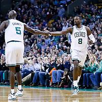 01 March 2013: Boston Celtics power forward Jeff Green (8) is congratulated by Boston Celtics power forward Kevin Garnett (5) during the Boston Celtics 94-86 victory over the Golden State Warriors at the TD Garden, Boston, Massachusetts, USA.