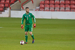 WREXHAM, WALES - Friday, September 2, 2016: Wales' goalkeeper Billy O'Brien in action against Denmark during the UEFA Under-21 Championship Qualifying Group 5 match at the Racecourse Ground. (Pic by Paul Greenwood/Propaganda)