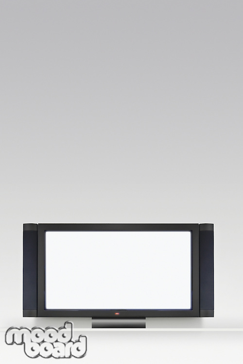 Flat screen television on white background