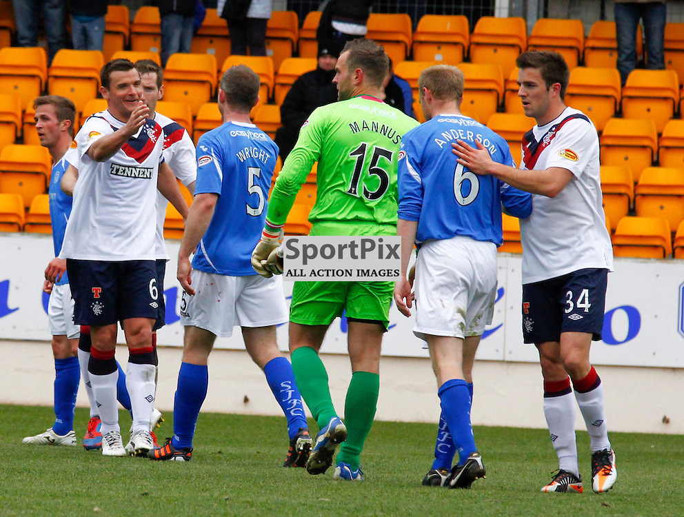 Rangers no 6 Lee McCulloch, St Johnstone's no 5 Frazer Wright, No 15 keeper Alan Mannus and no 6 Steven Anderson at full time.St Johnstone v Rangers in the Scottish Premier League, SPL.(StockPix.eu|Sean Donnelly)