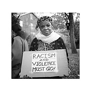 Monday October 28, 2013 Betty Ann Wilson, 72, of Swarthmore, PA, was one of about a dozen protesters outside the home of George Vucelich who has a skeleton hanging from a tree in his Swarthmore yard with a rope around its neck and wearing an Obama Biden T shirt. The display has angered and upset neighbors who asked him to take it down, he refused and they have in response demonstrated daily.