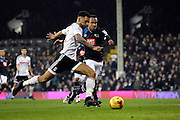 Fulham defender Ryan Fredericks (02) setting up goal for Fulham midfielder Floyd Ayite (11) during the EFL Sky Bet Championship match between Fulham and Derby County at Craven Cottage, London, England on 17 December 2016. Photo by Matthew Redman.