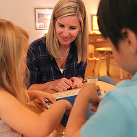 Adam Robison | BUY AT PHOTOS.DJOURNAL.COM<br /> Misty Coleman works with students Tessa Kate Lesley, 3, and Justin Ho, 4.
