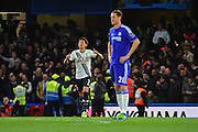 Tottenham Hotspur Forward Son Heung-min (7) celebrates his goal during the Barclays Premier League match between Chelsea and Tottenham Hotspur at Stamford Bridge, London, England on 2 May 2016. Photo by Jon Bromley.
