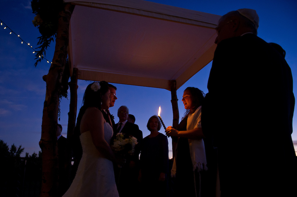 Julia and Matt Shaffer during their Boulder Country Club wedding in Boulder, Saturday, Oct. 15, 2011.