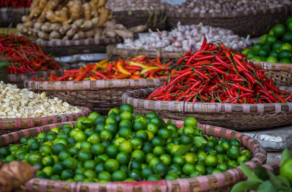 HANOI, VIETNAM - CIRCA SEPTEMBER 2014:  Vegetables in the streets of Hanoi, Vietnam.