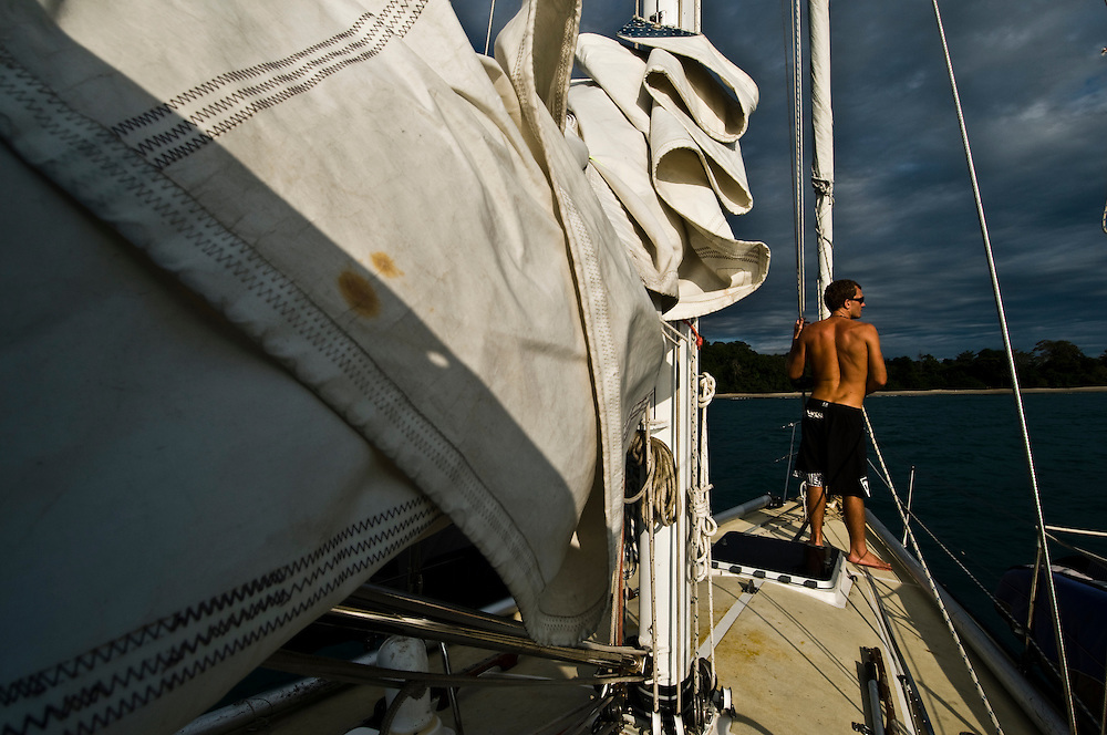 Bryson on the bow of Khulula arriving at Manuel Antonio National Park in Costa Rica