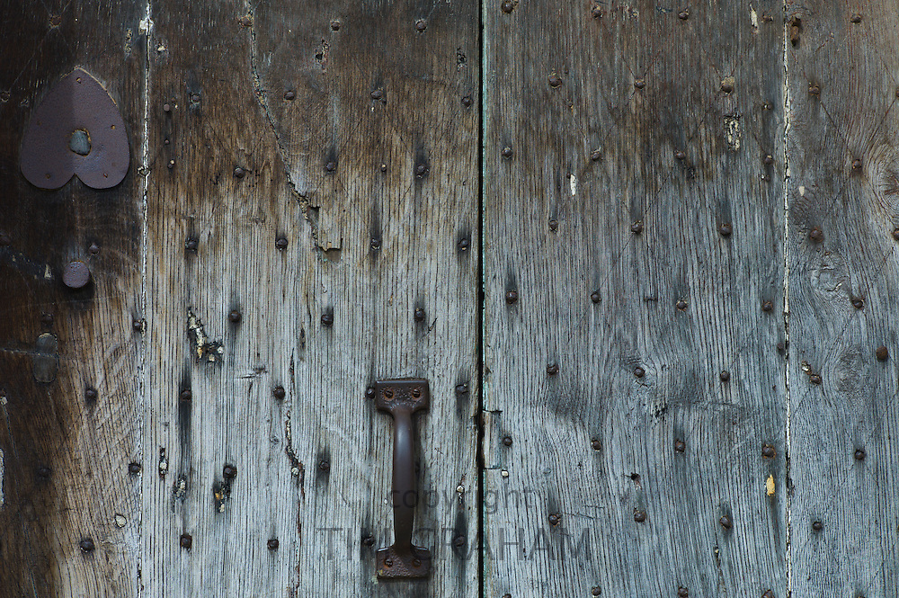 Detail of ancient oak door in Chipping Campden, The Cotswolds, Gloucestershire