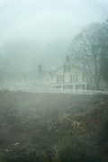 Country house shrouded in soft mist, Vermont, USA