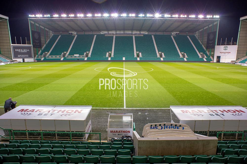 General view inside Easter Road Stadium, Edinburgh, Scotland before the Ladbrokes Scottish Premiership match between Hibernian and Rangers on 19 December 2018.