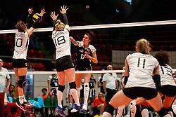 16.05.2019, Montreux, SUI, Montreux Volley Masters 2019, Deutschland vs Polen, im Bild Lena Stigrot (Germany #10) and Leonie Schwertmann (Germany #18) blocking Malwina Smarzek (Poland #17) // during the Montreux Volley Masters match between Germany and Poland in Montreux, Switzerland on 2019/05/16. EXPA Pictures © 2019, PhotoCredit: EXPA/ Eibner-Pressefoto/ beautiful sports/Schiller<br /> <br /> *****ATTENTION - OUT of GER*****