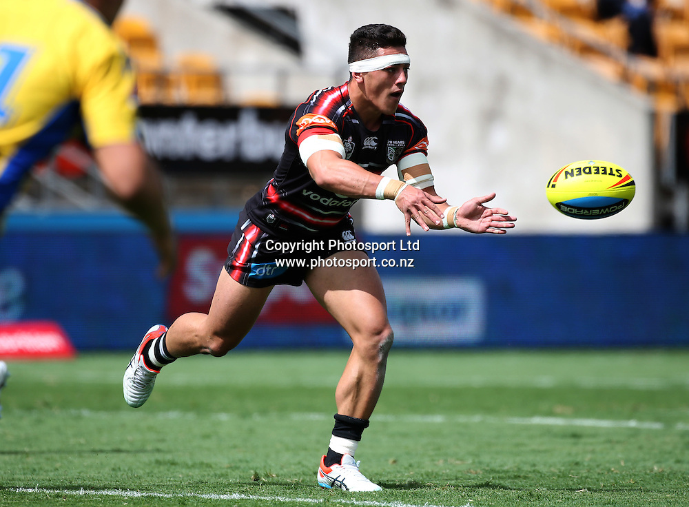 Warriors player Nathaniel Roache in action during the Junior Warriors vs Paramatta Eels Holden Cup match played at Mt Smart Stadium in South Auckland on the 21st March 2015. <br /> <br /> Copyright Photo; Peter Meecham/ www.photosport.co.nz