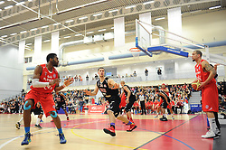 Bristol Flyers' Doug McLaughlin-Williams looks to pass to Bristol Flyers' Alif Bland - Photo mandatory by-line: Dougie Allward/JMP - Mobile: 07966 386802 - 13/03/2015 - SPORT - Basketball - Bristol - SGS Wise Campus - Bristol Flyers v Leicester Riders - British Basketball League