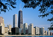 Partial view of city skyline of Chicago, Illinois