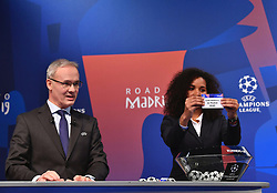 NYON, SWITZERLAND - Monday, December 17, 2018: Lyon player Laura Georges holds up Atletico Madrid after making the draw during the UEFA Champions League 2018/19 Round of 16 draw at the UEFA House of European Football. (Handout by UEFA)