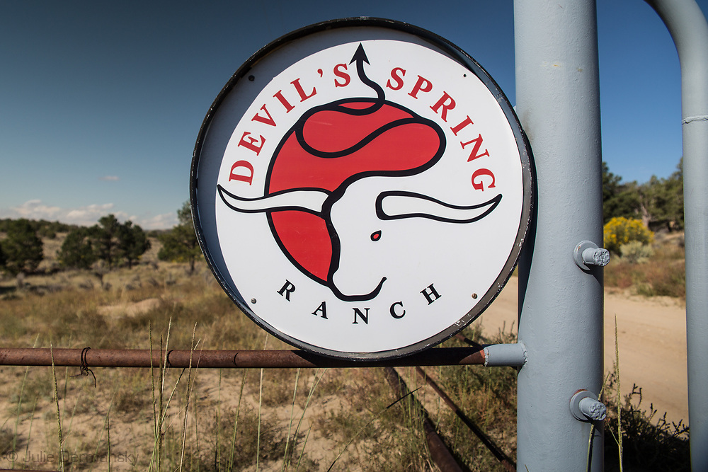 Sign on the Schreiber's ranch in Blanco, New Mexico.