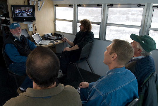 Polar Bears International hosting a video conference from Buggy One on the shores of Hudson, Bay. PBI president Robert Buchanan, Dr. Steve Amstrup, Dr. Andy Derocher and Dr. Don Moore,