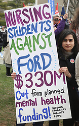 April 30, 2019 - Toronto, Ontario, Canada - Thousands rallied at Queen's Park on April 30, 2019 in Toronto, Ontario, Canada to protest against the PC government's deep and sweeping cuts to health care services across the province. The protest was against Premier Doug Ford's plan to restructure the health care system under Bill 74 (The People's Health Care Act) which would open the door to selling off public healthcare to private corporations. (Credit Image: © Creative Touch Imaging Ltd/NurPhoto via ZUMA Press)