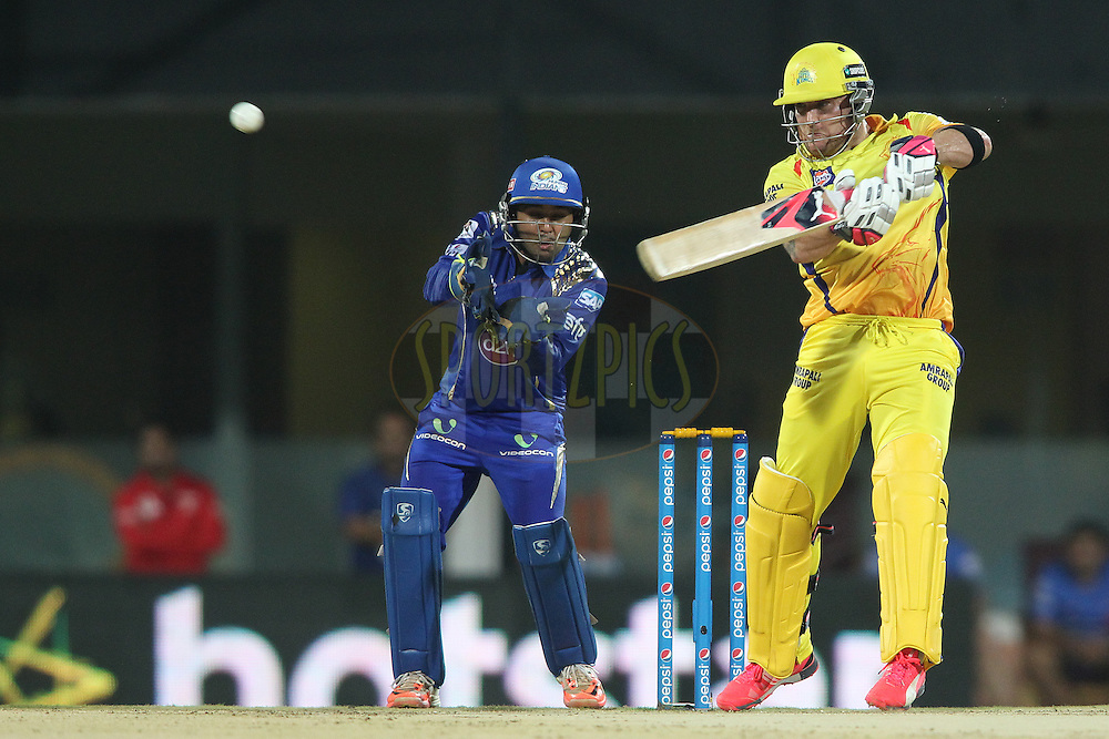 Brendon McCullum of Chennai Super Kings cuts a delivery over cover towards the boundary during match 43 of the Pepsi IPL 2015 (Indian Premier League) between The Chennai Super Kings and The Mumbai Indians held at the M. A. Chidambaram Stadium, Chennai Stadium in Chennai, India on the 8th May April 2015.<br /> <br /> Photo by:  Shaun Roy / SPORTZPICS / IPL