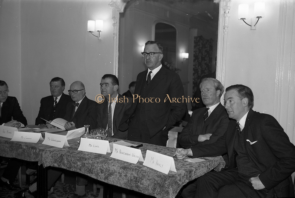 """10/04/1964<br /> 04/10/1964<br /> 10 April 1964<br /> Student Accountants study conference at the La Touche Hotel, Greystones, Co. Wicklow. The conference was run by the Dublin Society of Chartered Accountants. The two day seminar opened with a panel sisscussion on """"Accounting and Financial Developments in the Sixties"""" by leading speakers from management, economics and finance. Picture shows: Mr john Love, F.C.A., (4th from left) Vice-President, the Institute of Chartered Accountants in Ireland, speaking at the opening of the panel discussion. Other members of the panel in the picture were (l-R): Professor J.F. Meenan, M.A., F.R. Econ.S., B.L., Prof of Political Economy and National Economics of Ireland, U.C.D.; Mr Michael M. Connor, M. Comm., A.C.A., Institute of Chartered Accountants in Ireland Council; Mr Franz Winklemann, M.A., A.C.A., Chairman, Students Group, Dublin Society of Chartered Accountants; Mr Love; Mr Amory A. Pakenham-Walsh, M.A., F.C.W.A., F.A.C..A., Lecturer in Management, T.C.D. and Mr Barry Hanly, Director of Education, Institute of Chartered Accountants in Ireland."""