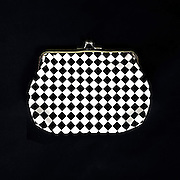 a checkered purse in black and white