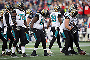 The Jacksonville Jaguars offense breaks from the huddle and walks to the line of scrimmage during the AFC Championship NFL playoff football game against the New England Patriots, Sunday, Jan. 21, 2018 in Foxborough, Mass. The Patriots won the game 24-20. (©Paul Anthony Spinelli)