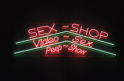 Sex Shop; Video Sex and Peep show neon sign,