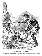 """Fascimo, Limited. The Native (to Signor Mussolini). """"You can drag a chamois to the macaroni, but you can't make him eat it."""" [the South Tyrol goat is refusing to eat the pasta that Mussolini pulls him to]"""