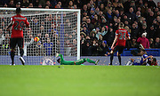 Chelsea attacker Kenedy scoring Chelsea second goal during the Barclays Premier League match between Chelsea and West Bromwich Albion at Stamford Bridge, London, England on 13 January 2016. Photo by Matthew Redman.