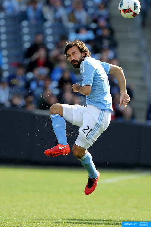 Andrea Pirlo, NYCFC, in action during the New York City FC Vs New England Revolution, MSL regular season football match at Yankee Stadium, The Bronx, New York,  USA. 26th March 2016. Photo Tim Clayton