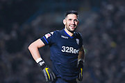 Francisco Casilla of Leeds United (33) smiles after Ezgjan Alioski of Leeds United (10) scores a goal to make the score 4-0 during the EFL Sky Bet Championship match between Leeds United and West Bromwich Albion at Elland Road, Leeds, England on 1 March 2019.
