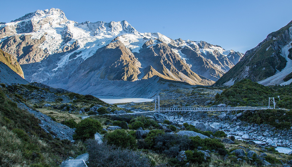 The first swing bridge on the the Hooker Valley track.