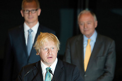 © London News Pictures. 04/05/2012. London, UK. BORIS JOHNSON speaks in front of KEN LIVINGSTONE after being elected as Mayor of London at London City Hall on May 4, 2012. Johnson, a British Conservative Party politician, defeated Ken Livingstone to become mayor of London for a second term. Photo credit: Ben Cawthra/LNP