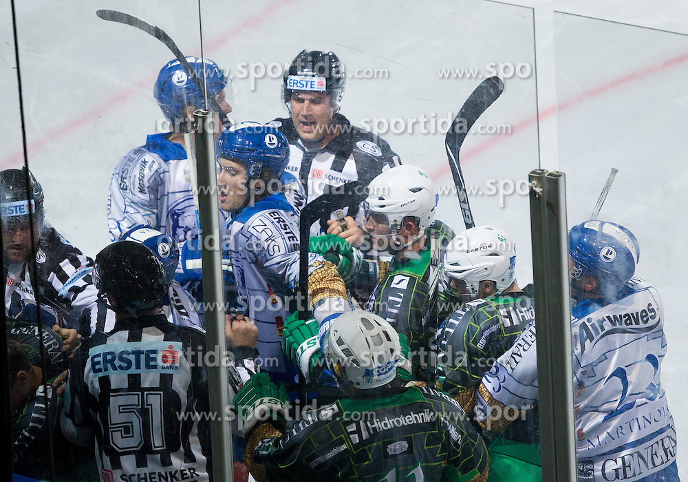 14.09.2012. Pula Arena, Pula, CRO, EBEL, KHL Medvescak Zagreb vs HDD Telemach Olimpija Ljubljana, 03. Runde, in picture players in fight during the Erste Bank Icehockey League 3rd Round match between KHL Medvescak Zagreb and HDD Telemach Olimpija Ljubljana at the Pula Arena, Pula, Croatia on 2012/09/14. (Photo By Vid Ponikvar / Sportida)