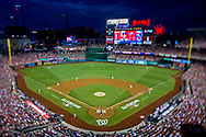 Jul 17, 2018; Washington, DC, USA; (Editors note: tilt-shift lens used to created this image) An overall view of the field during the second inning in the 2018 MLB All Star Game at Nationals Ballpark. Mandatory Credit: Peter Casey-USA TODAY Sports