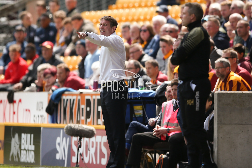 Bradford City Manager Phil Parkinson  during the Sky Bet League 1 play off first leg match between Bradford City and Millwall at the Coral Windows Stadium, Bradford, England on 15 May 2016. Photo by Simon Davies.