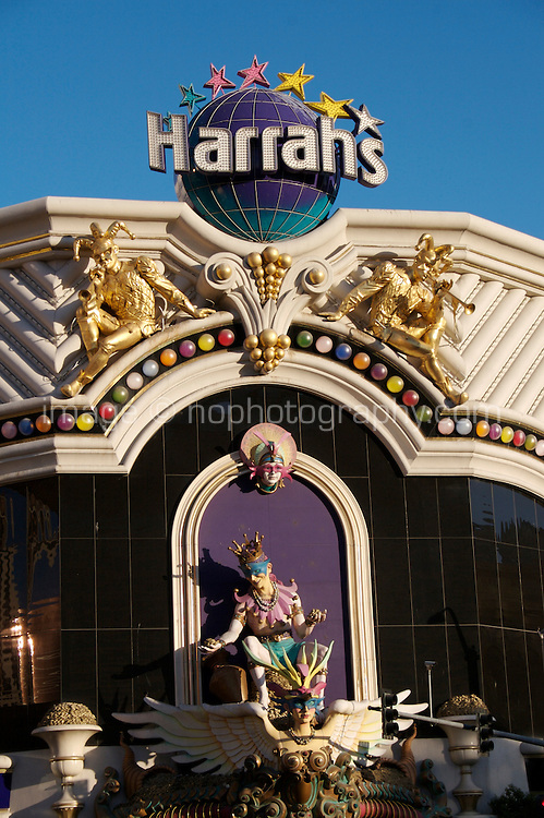View of Harrahs on Las Vegas Boulevard, Las Vegas, Nevada. The street also known as The Las Vegas Strip where many of the famous themed casinos and hotels are located.