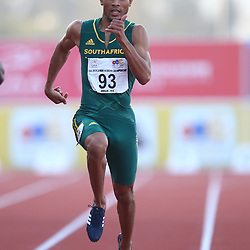 Durban, SOUTH AFRICA, 26,June, 2016 - Wayde van Niekerk of South Africa in the Men 200m Final during Day 5 The 20th CAA African Senior Athletics Championships will take place at the Kings Park Athletics Stadium in Durban, South Africa from June 22-26, 2016. (Photo by Steve Haag)