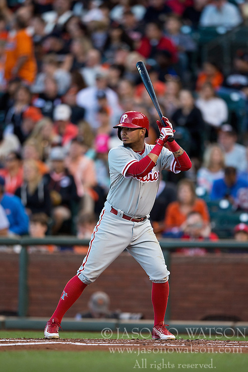 SAN FRANCISCO, CA - JULY 11:  Freddy Galvis #13 of the Philadelphia Phillies at bat against the San Francisco Giants during the second inning at AT&T Park on July 11, 2015 in San Francisco, California.  The San Francisco Giants defeated the Philadelphia Phillies 8-5. (Photo by Jason O. Watson/Getty Images) *** Local Caption *** Freddy Galvis