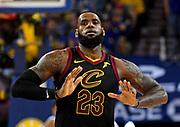 May 31, 2018; Oakland, CA, USA; Cleveland Cavaliers forward LeBron James (23) reacts after a play during the third quarter against the Golden State Warriors in game one of the 2018 NBA Finals at Oracle Arena.