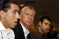 Photo: Olly Greenwood.<br />West Ham United Press Conference. 05/09/2006.  <br />West Ham manager Alan Pardew (C) and Javier Mascherano (R) look on as Carlos Teves talks to the press.