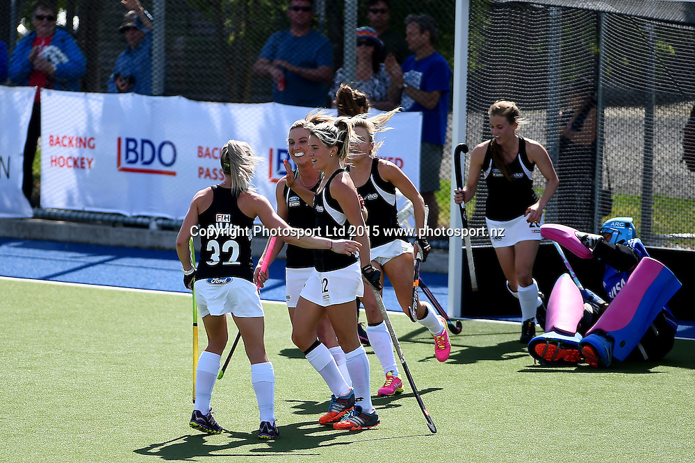 Black Sticks players celebrate Gemma Flynn`s goal during their 2015 South Island Tour game between the New Zealand Black Sticks Women v Argentina. College Park, Blenheim, New Zealand. Sunday 4 October 2015. Copyright Photo: Chris Symes / www.photosport.nz