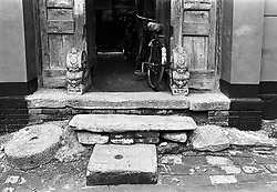 Detail of entrance to old house in a hutong in Beijing China