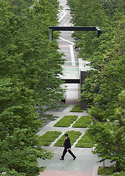 Modern urban park beside high rise office buildings in Shinagawa Tokyo