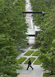 Modern urban park beside high rise office buildings in Shinagawa Tokyo